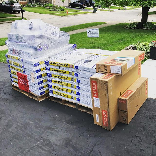 @menardshomeimprovement drop of our @atlasroofing Material and @veluxusa skylights! This house will look amazing with these products!! We install the Atlas Signature Select roofing system to provide the best warranty for the Homeowner! #menards #atlasroofing #atlasroofingshingles #veluxwindows #warranty #atlassignatureselectroofsystem