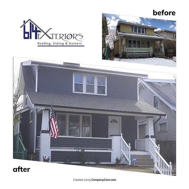 Before & After of a home we recently renovated in Columbus #roofing #roofingcontractor #siding #sidingcontractor #exteriorpaint #exterior #painting #gutter