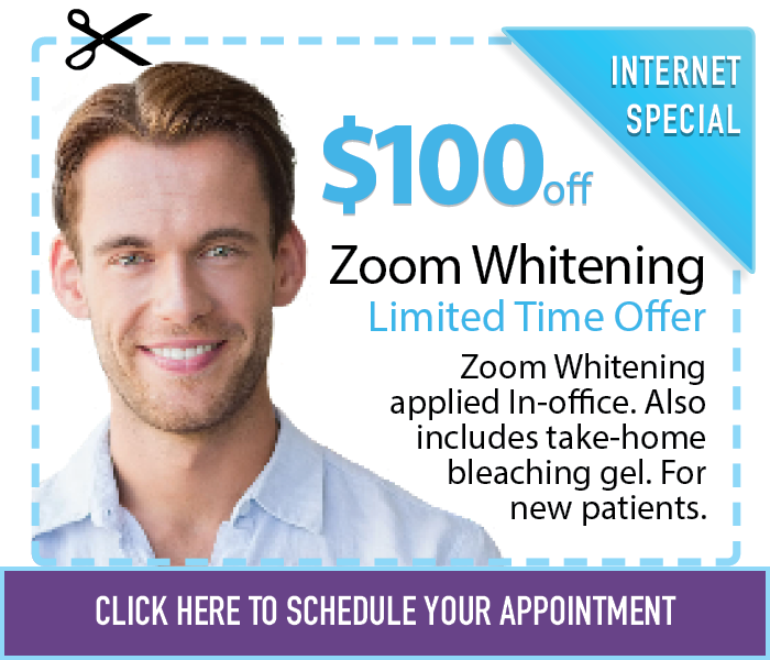 $100 off Zoom Whitening and Take Home Whitening for new patients.