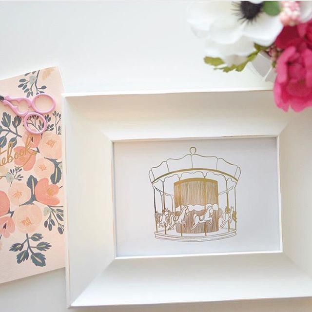 This sweet carousel print in gold foil has always been one of my favorites.  It makes a cute little addition to a little Easter basket. 🌷🐇 @etsy #etsyseller #goldfoilart #goldfoil #carousel