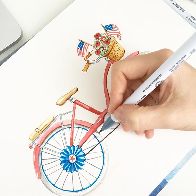 Swipe over to see the how we get to the finished product.  #4thofjuly #etsy #bikeparade #4thofjulydecor #independenceday