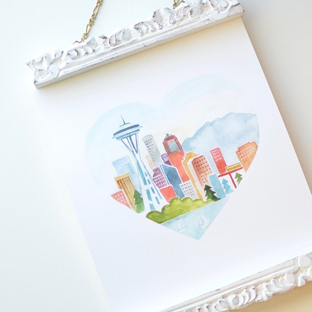 Feels like Seattle in Utah this week. 🌧  I don't mind. I love that pretty city. 💕 #watercolor #seattle #seattlewa  #etsyshop #watercolorart #seattlegift