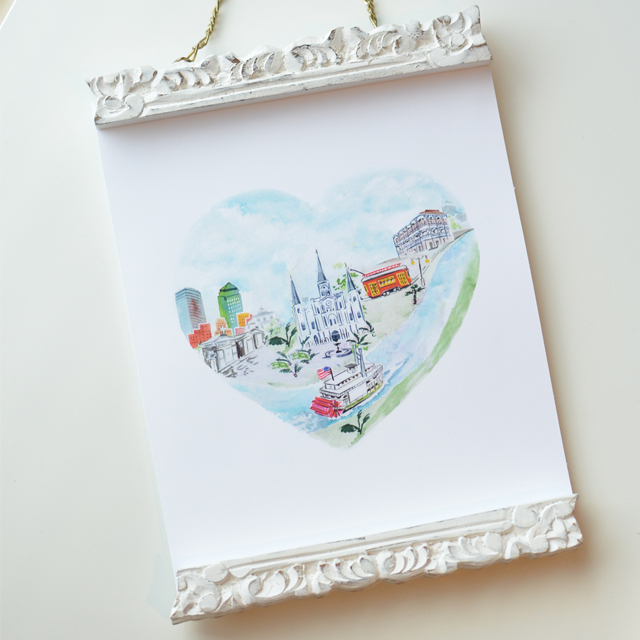New Orleans City Heart Print