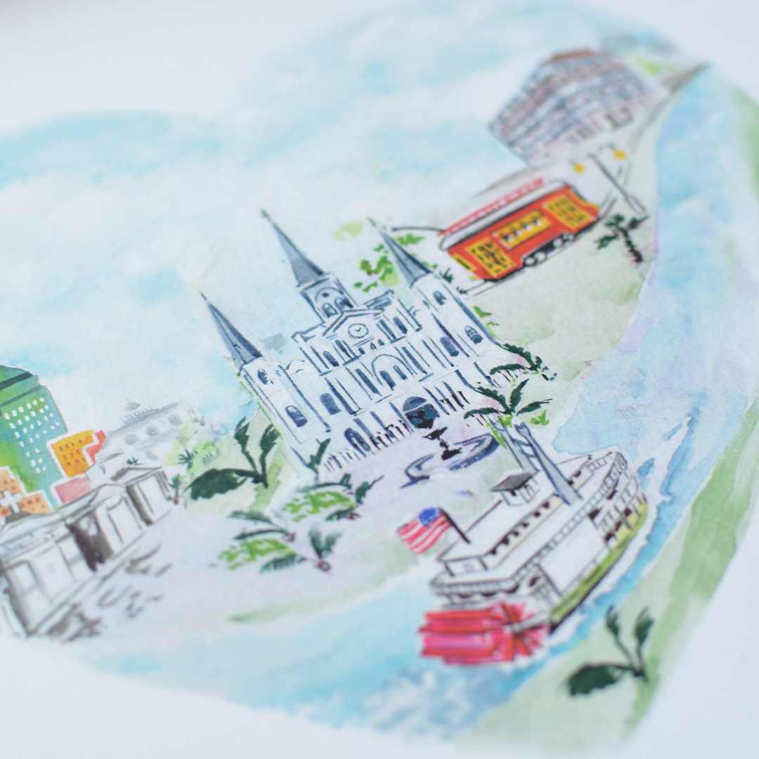 new orleans city heart art print