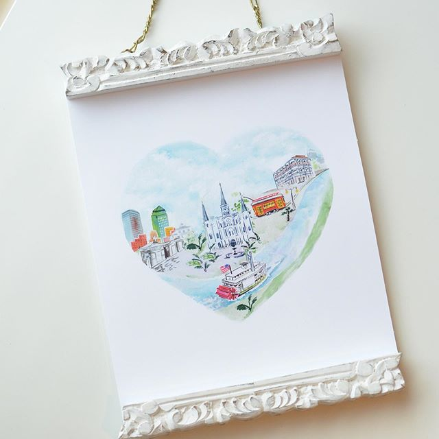 Our newest city love print: NEW ORLEANS! 🎷  Make sure to tag all of your New Orleans loving friends. #neworleans #neworleansart #etsyart #estyshop #shopsmall #watercolorart #louisianatravel