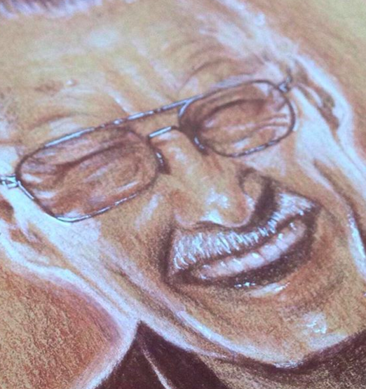 Close up of Zoe's portrait of the late great Stan Lee.