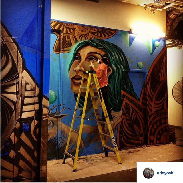 via instagram. Erin paints part of the mural series at YBCA.