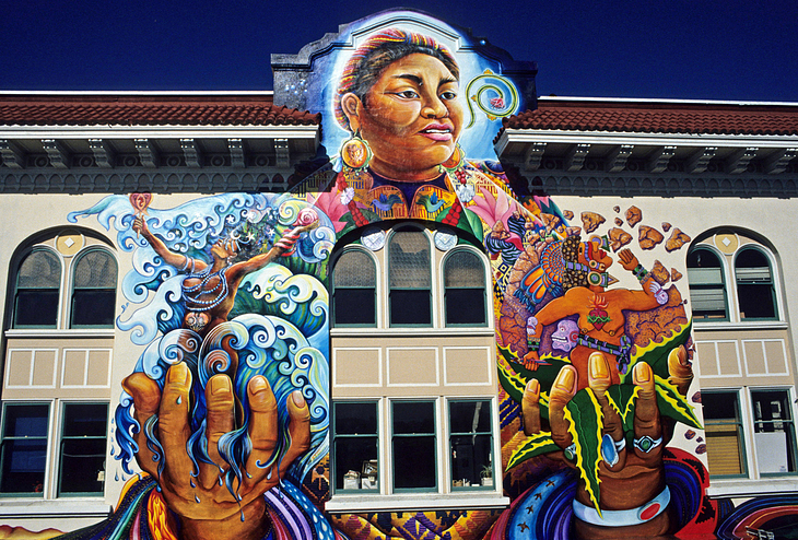 image: SF Mural Arts. MaestraPeace mural on the Women's Building in the Mission.