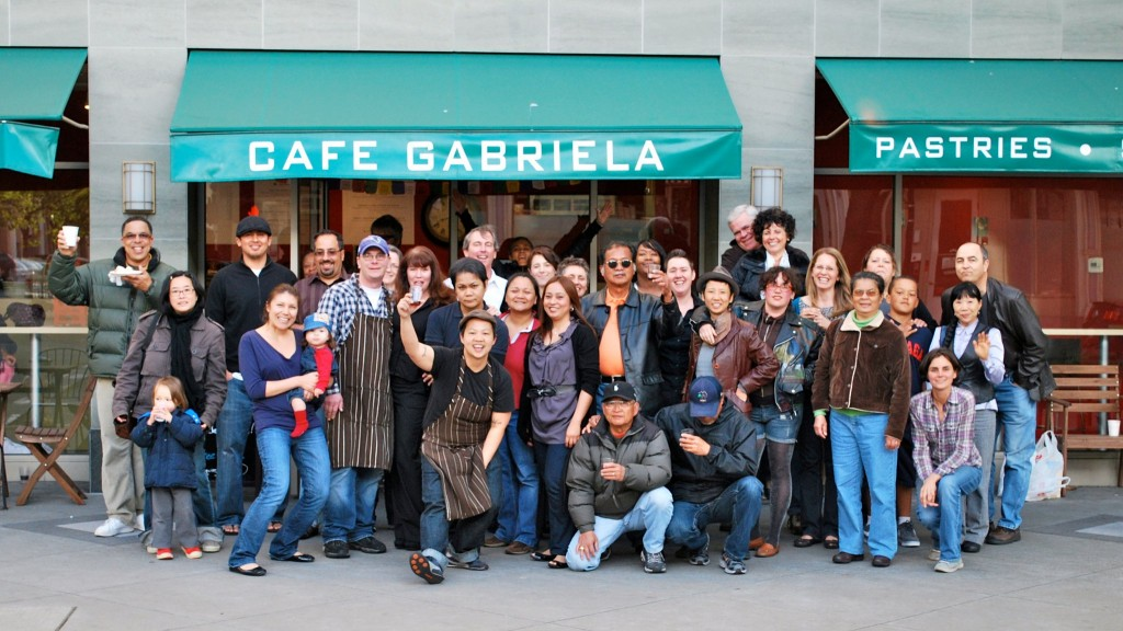 Cafe Gabriela is all about community as you can see folks rallying behind owner Penny Baldonado.