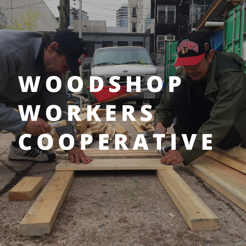Woodshop Workers Cooperative   Not only does the Woodshop make beautiful customizable furniture and accessories from up cycled and reclaimed materials, they also support opportunities for employment and skills building. We are continuing to grow the partnership, making planters, gift boxes, hive stands and some things in between through our Fairwood program, teaching skills, reclaiming wood, building community.