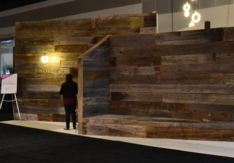 Interior Design Show - WRT contributed some weathered antique wood to the IDS West Bottega VIP Lounge in 2014... designed by Andrea McLean and built by Lock & Mortice Build Co, it was a great example of how reclaimed material can be used as-is to create a lovely space.