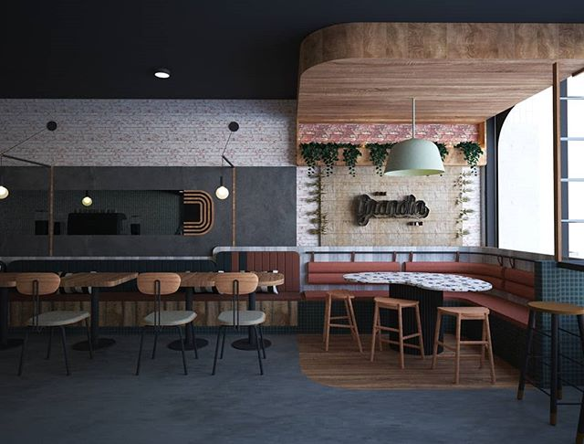 We're excited to be working with @thegranolabar for a fun and contemporary take on the classic diner. . . . #thegranolabar #diner #cafe #cafedesign #terrazzo #wood #concrete #pastel #rendering #design #architecture #fabrication #interiors #interiordesign #dezeen #yellowtrace #designboom #designmilk #boltdesigngroup