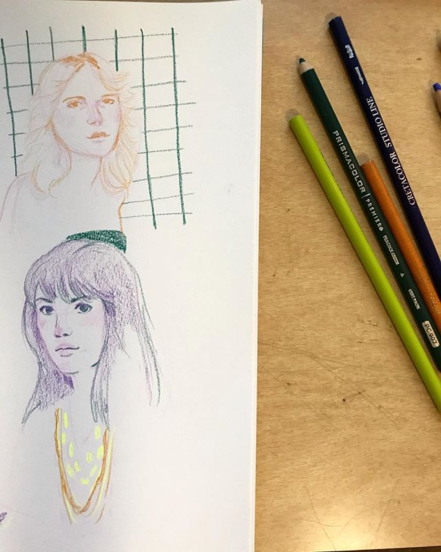 "More portrait practice from instagrams photos added to my ""saved"" folder . . . #secondplacestudio #portraitpractice #prismacolor #sketchdaily #sketchbook #womenwhodraw #illustratorsofinstagram #dailydraw #drawsomethingeveryday #makersgonnamake #midwestartist #kcartist"