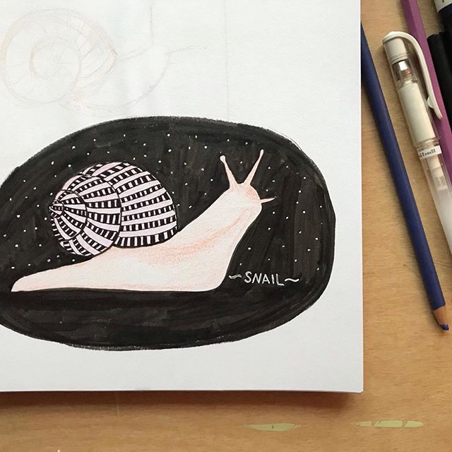A little late to the game but I'm catching up! Thank you @furrylittlepeach for a prompt list I feel like doing 🤘 this round of drawings got a little outta this world 💫✨🌝 . . . #secondplacestudio #flpinktober19 #art #illustrationartist #inktober #inktober2019 #inktober19 #snail #jam #rock #kcartist #midwestmakers #madeinkc #cosmicart #ipreview via @preview.app
