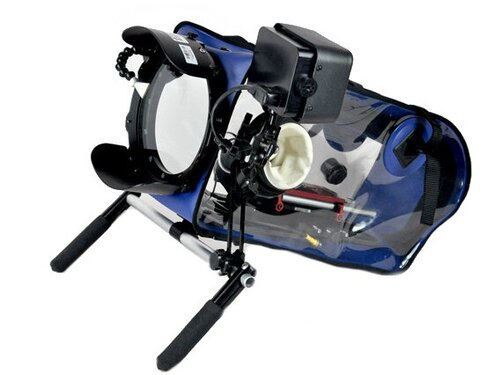 T-BAG Underwater Housing  Rated down to 6 feet. Fits cinema cameras including all REDs, the Arri Alexa Mini and Amira, and most 16mm film cameras.