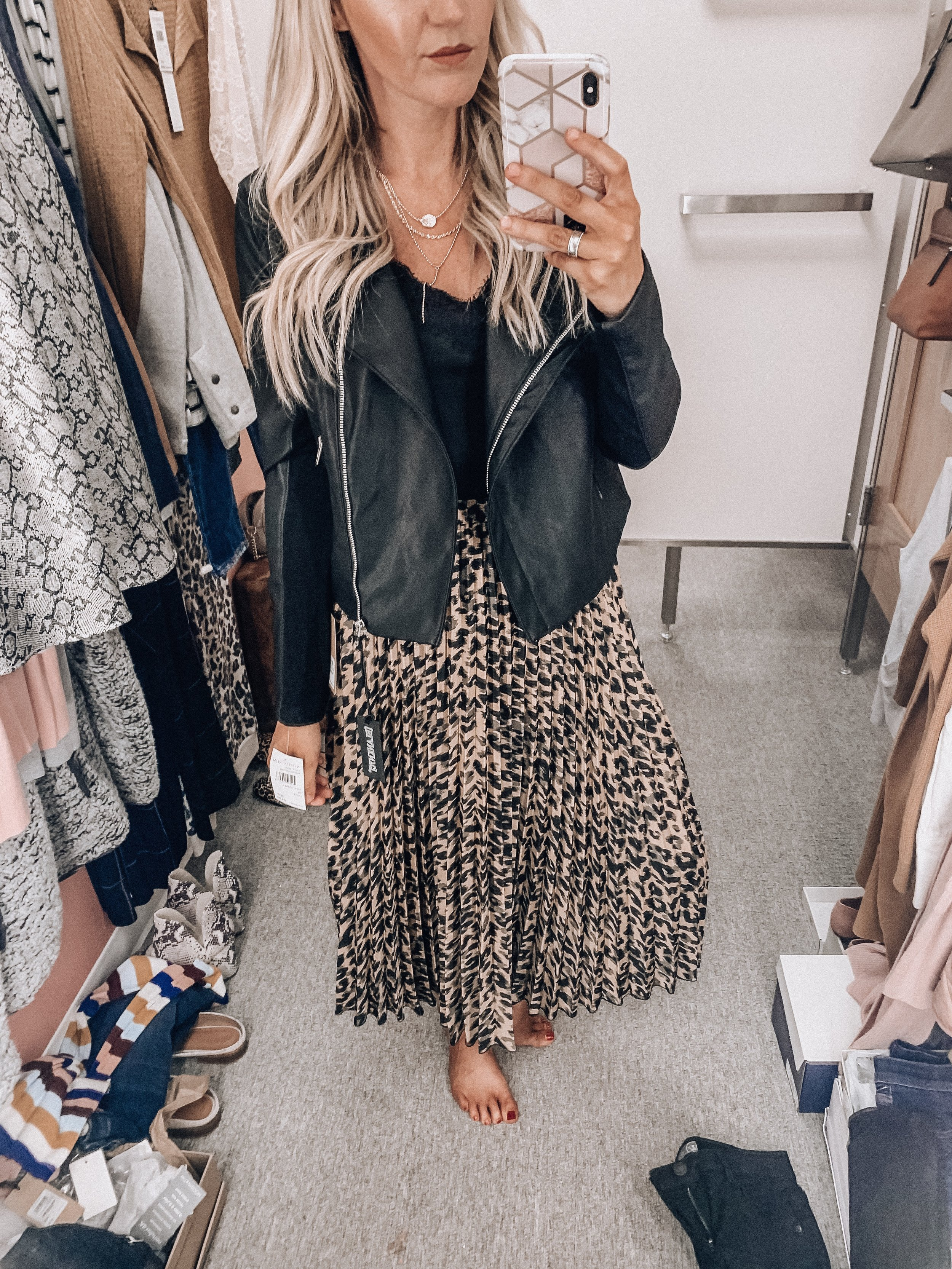 Jacket: size small    Cami: size extra small    Leopard skirt: size small