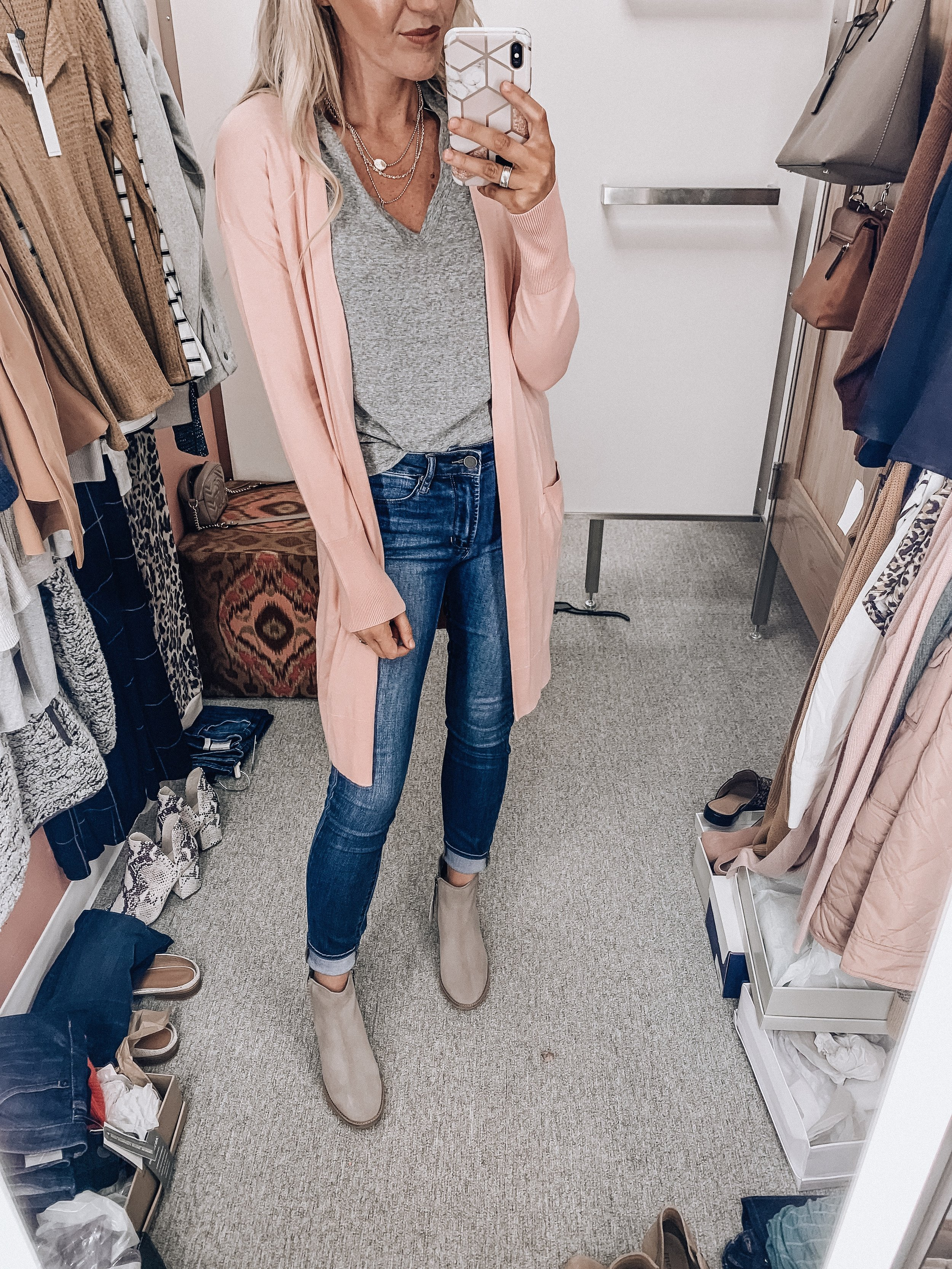 Cardigan: size extra small    Tee: size extra small    Booties: TTS    Jeans