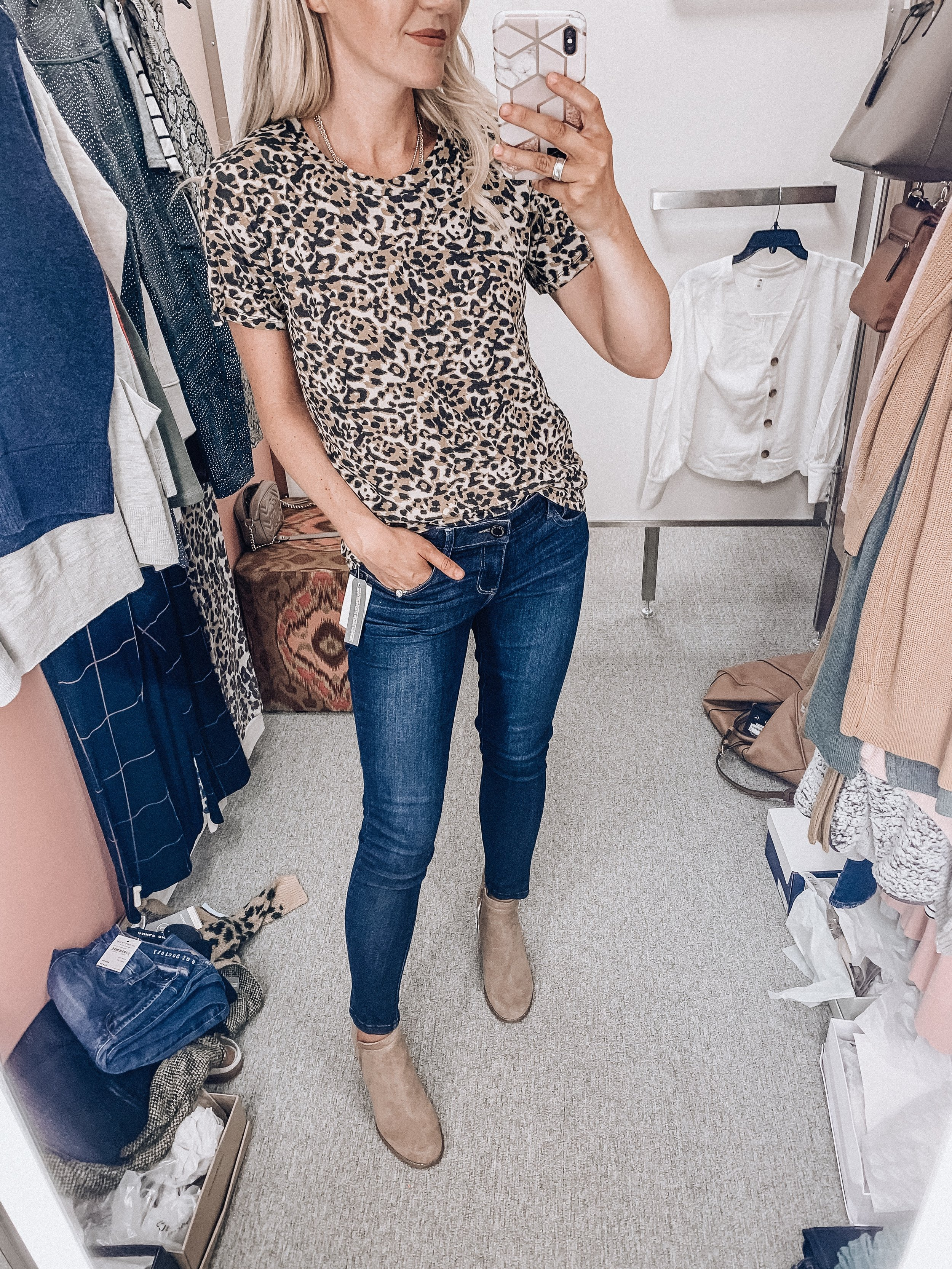 Leopard tee: size small   Jeans: size 4   Booties