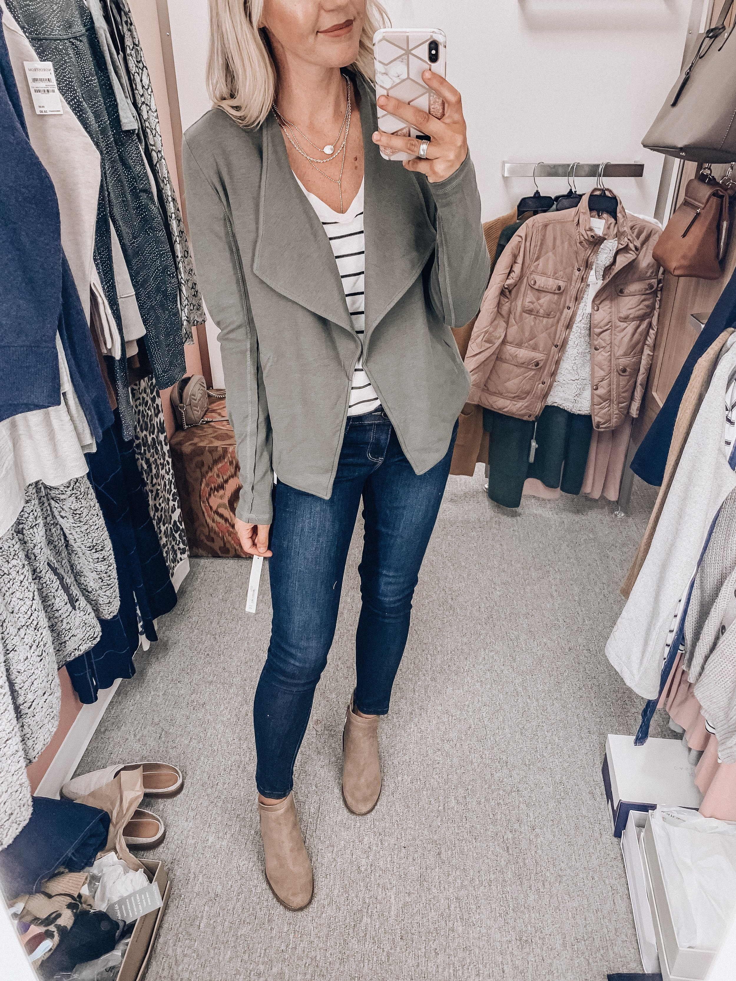Cardigan: size small    Tee: size extra small    Jeans: size 4   Booties