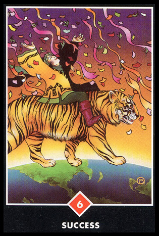 6 of Wands   Courage.  Receiving acknowledgment and validation for past efforts; a moment of glory.  Fulfillment of hopes and wishes; victory is assured.  Great satisfaction in a career. Confidence that you are on the right path.  Acclaim from others because of success in some area of life.  Possible promotion or prize from creative enterprise.  Success here ignites your passion to continue seeking achievement.