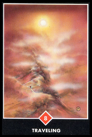 8 of Wands   Decisive Action -Travel card.  Inundated with spontaneous ideas that may soon become reality.  A high-energy period for initiating changes, especially from deadlock situations.  Fast movement and rapid growth. The climax after a period of delay or stagnation. Confidence and renewed energy developed by surmounting past obstacles. Phases quickly coming to a finish; tie up loose ends.  Mental activity or thirst for knowledge.