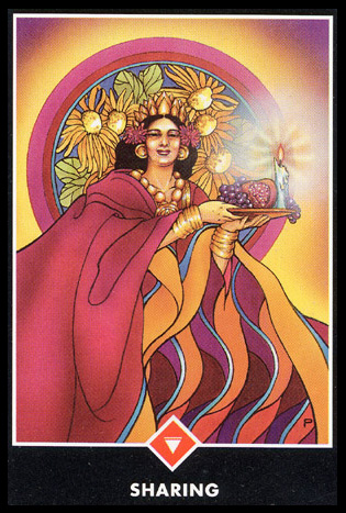 Queen of Wands   (Aries, Leo, Sagittarius) Strong-willed with a loyalty of the heart, and the strength of creative imagination to sustain a vision or goal.  A desire for recognition and a willingness to stand up for one's beliefs.  The ability to cope while there is much external change.  A loyal confidante who gives mature and loving advice.  A powerful woman who demands control over your affairs in return for her advice and financial assistance.  Preferring passion to eternal love.  If the Queen stands for a situation, attention to your vision is needed before taking action.