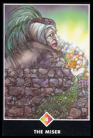 4 of Pentacles   Productivity; material security.  Owning your own personal power, energy, or vitality.  Clinging tightly to something or someone; if done excessively, this will prevent further growth.  Giving structure to an established situation. Feeling protected or grounded in the current situation.  Safeguarding your current holdings will prevent further incentive and result in stagnation.  Selfishness, greed, or possessiveness. Control issues.