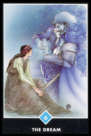 6 of Cups   Acceptance.  Memory or renewal of something from the past.  Romanticizing or living in the past.  Past efforts bring present or future rewards.  Childhood memories, an encounter with an old friend, lover, or acquaintance.  The timing is right and a cherished dream should be acted upon.