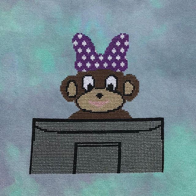 """This will be me this weekend, when I'm not trying to get stitching and housework done. TONS of computer work to do for both Stitchnmomma and the full-time job that pays my bills. 🐵 💻 """"Data Monkey"""" is available through the link in my bio or by clicking the shop now button on my FB page. 🐵 💻 #crossstitchersofinstagram #cross_stitch #crossstitching #crossstitchaddict #dmcthreads #craftingkeepsmesane #imakestuff #shopsmall #supportsmallbusiness #buyhandmade #datamonkey"""