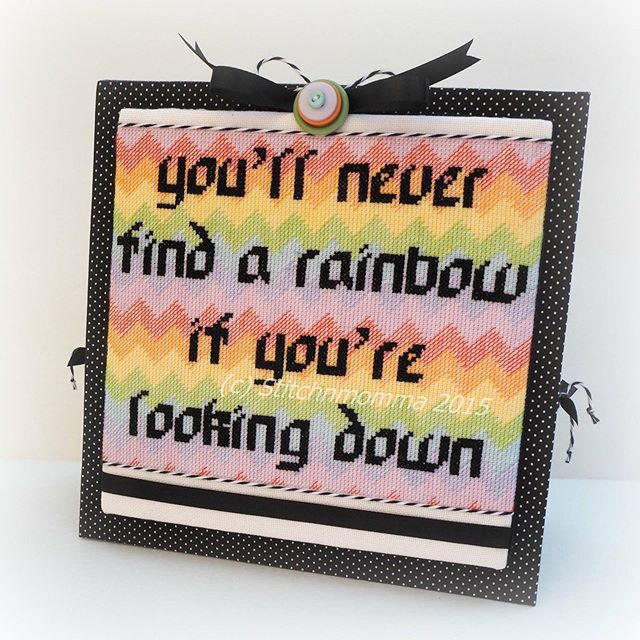 """It's Monday and I'm going to battle my Monday blues by looking up and being positive. 🌈 """"Looking for Rainbows"""" is not only one of my favorite pieces, but a great #CharlieChaplin quote. The pattern is available through the link in my bio or click the shop now button on my FB page. 🌈 #crossstitchersofinstagram #cross_stitch #crossstitching #crossstitchaddict #dmcthreads #craftingkeepsmesane #imakestuff #shopsmall #supportsmallbusiness #buyhandmade"""