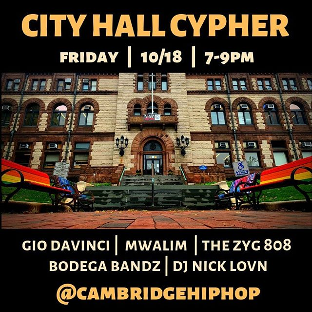 Special Cambridge City Hall Cypher this Friday! 🎙🔥🎙🔥 . Join us for this celebration of diversity in Cambridge! Special performances in honor of Indigenous People's Day and Hispanic Heritage Month! . Special thanks to the office of the @cambridge_mayor for helping organize this! 💯 . @centralsqbid #cambridgema @cambridgearts #bridgesidecyper
