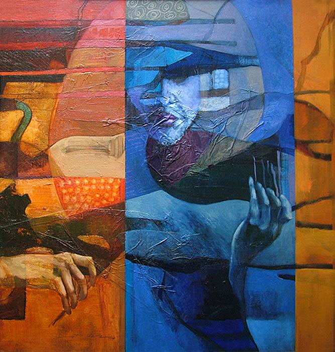 Formación rítmica II ,  Óleo sobre cartón, 2004. Colección privada
