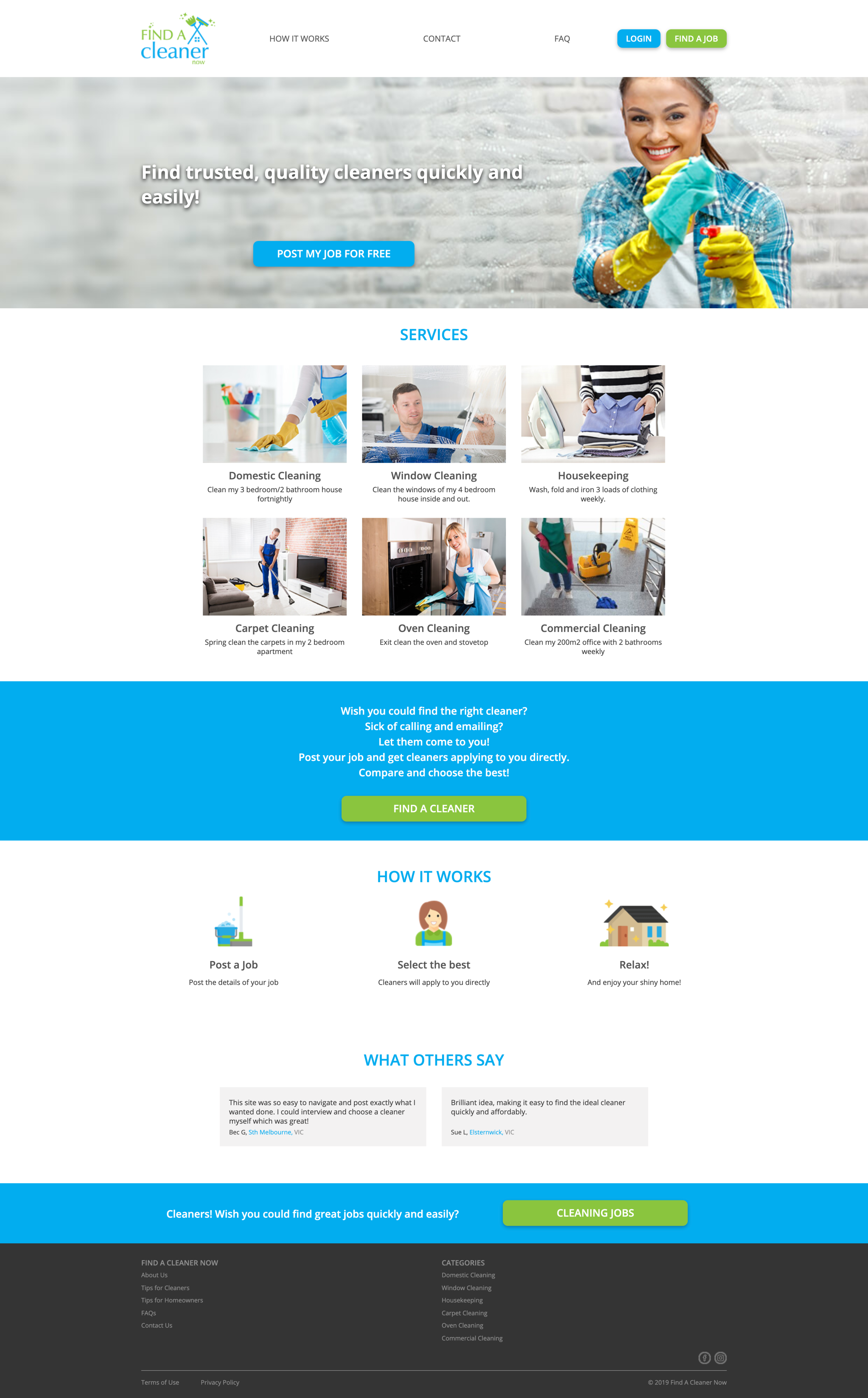 Find A Cleaner Now Homepage Design