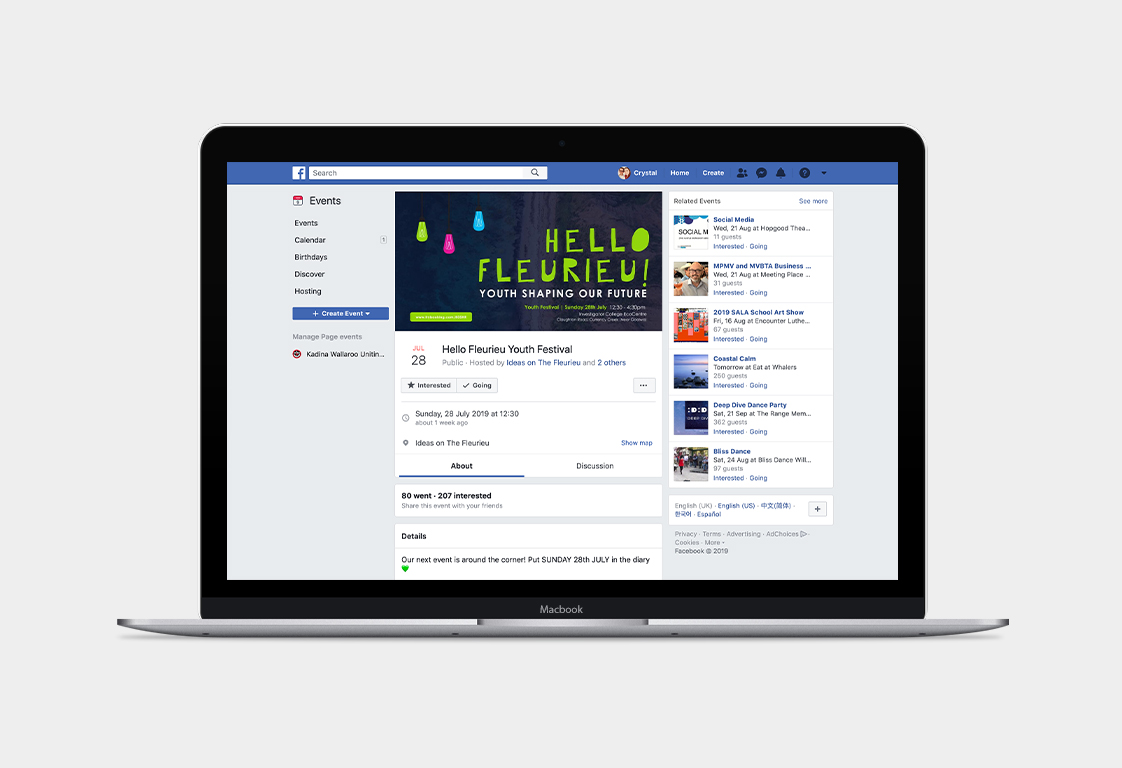 Ideas on the Fleurieu Hello Fleurieu Facebook Event