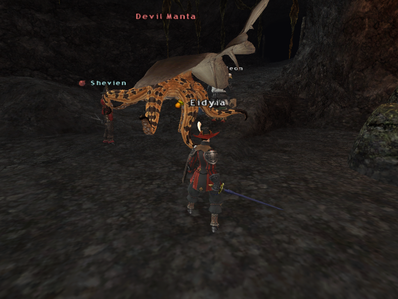Our FFXI characters, Eidyia and Shevien, on the day we met
