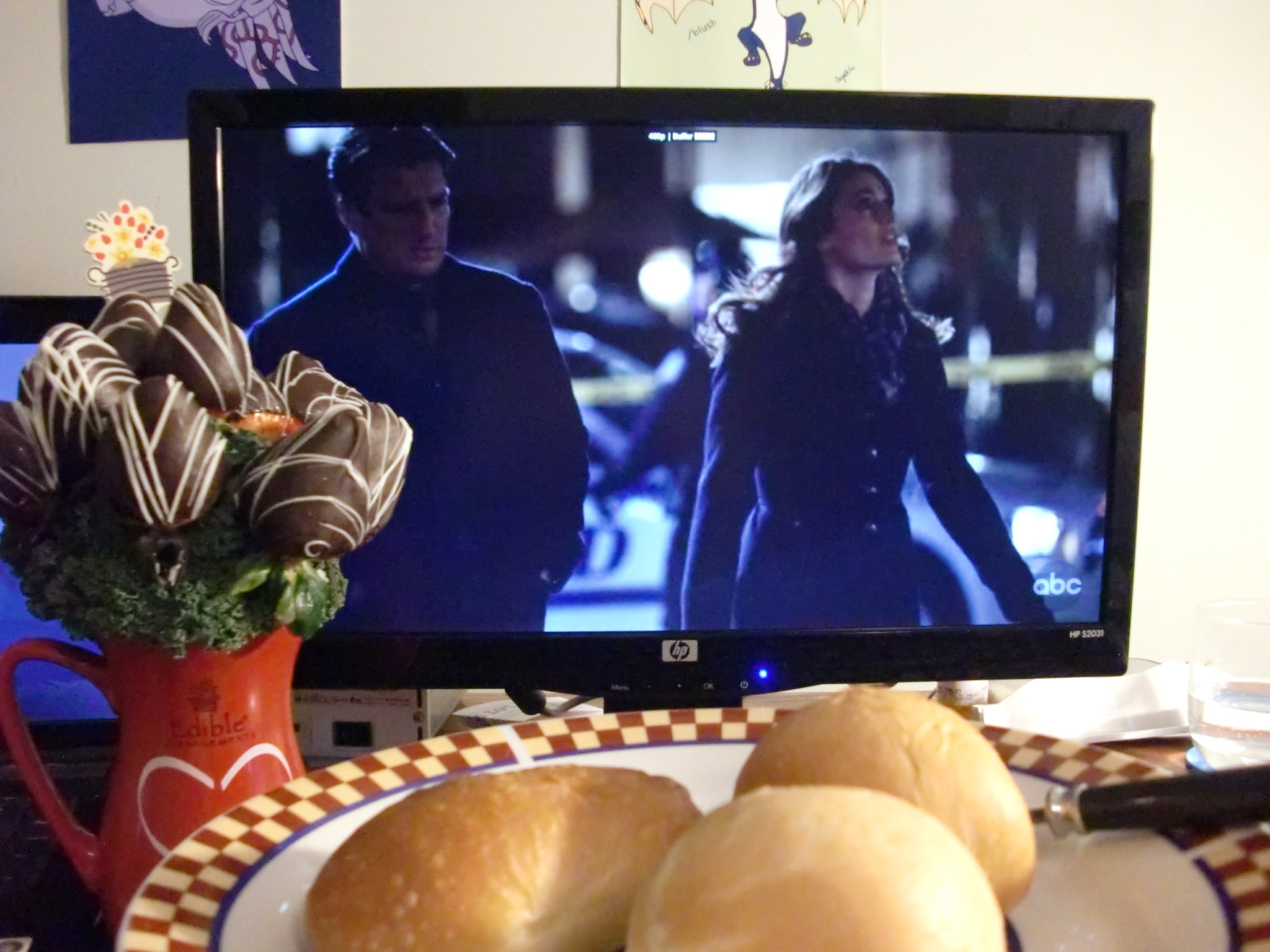 Long-distance Valentine's Day date: eating kolaches and Edible Arrangements while watching an episode of Castle