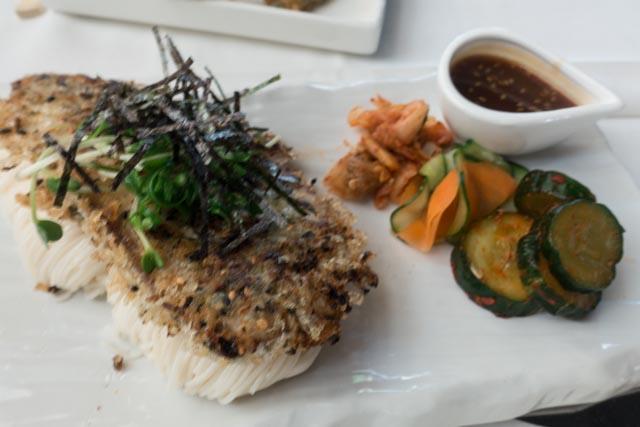 MW Restaurant's Mochi Crusted Monchong with Soy Yuzu Kosho Vinaigrette, Somen Noodles, and Vegetable Banchan