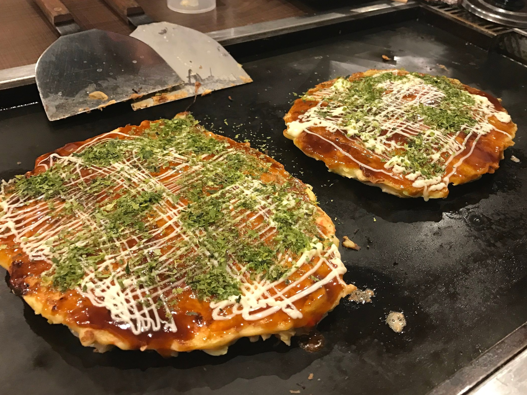 Cook Your Own Okonomiyaki - Okonomiyaki with Sauce, Mayonnaise, and Seaweed