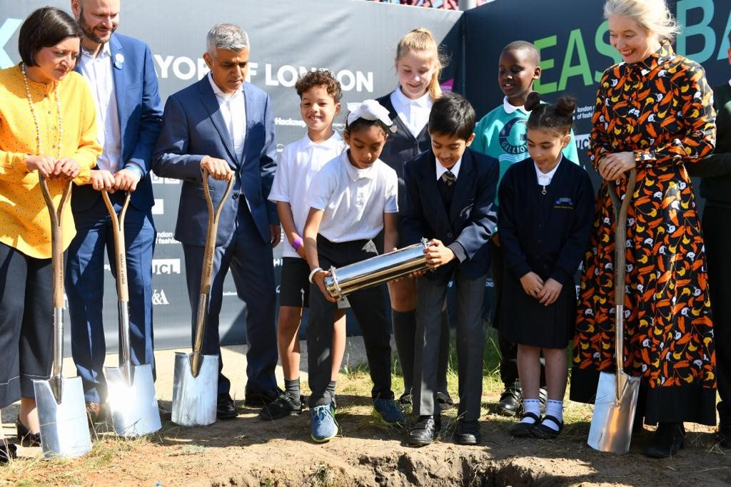 Today Sadiq Khan was joined at the UCL East campus site by local schoolchildren as they buried a time capsule symbolising the huge impact the project will have on the capital's future generations
