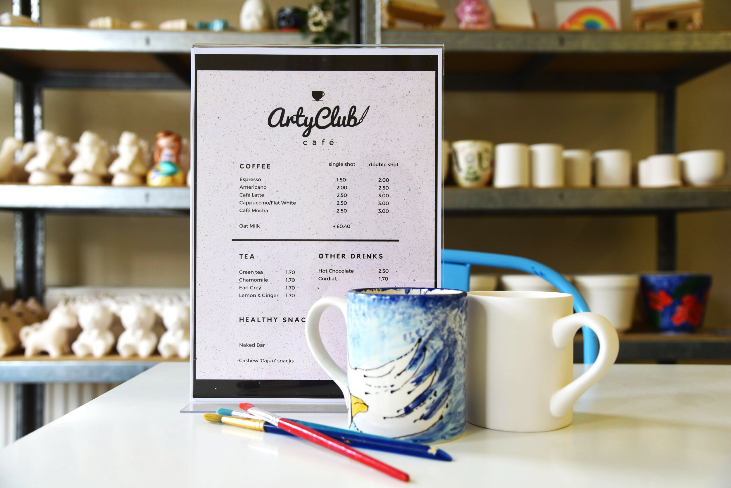 Café - We serve great coffee here at Arty Club. Our barista can make you a fine Cappuccino, Americano or Hot chocolate for the little one. We also serve tea, cordial and sell different kinds of snacks.