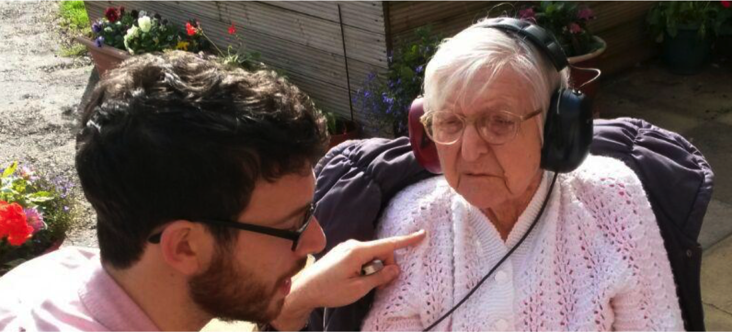 David with his Grandmother Audrey in 2015, testing out ideas for alternatives to her hearing aids that kept letting her down