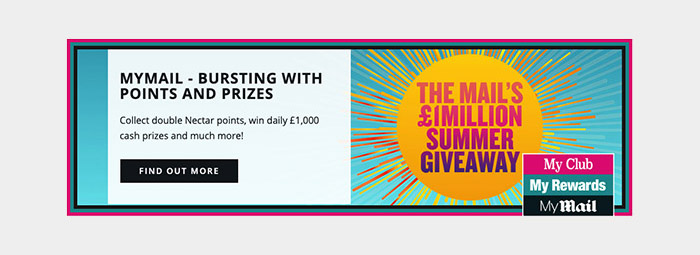 Mail Rewards constantly update their homepage with seasonal giveaways to be won