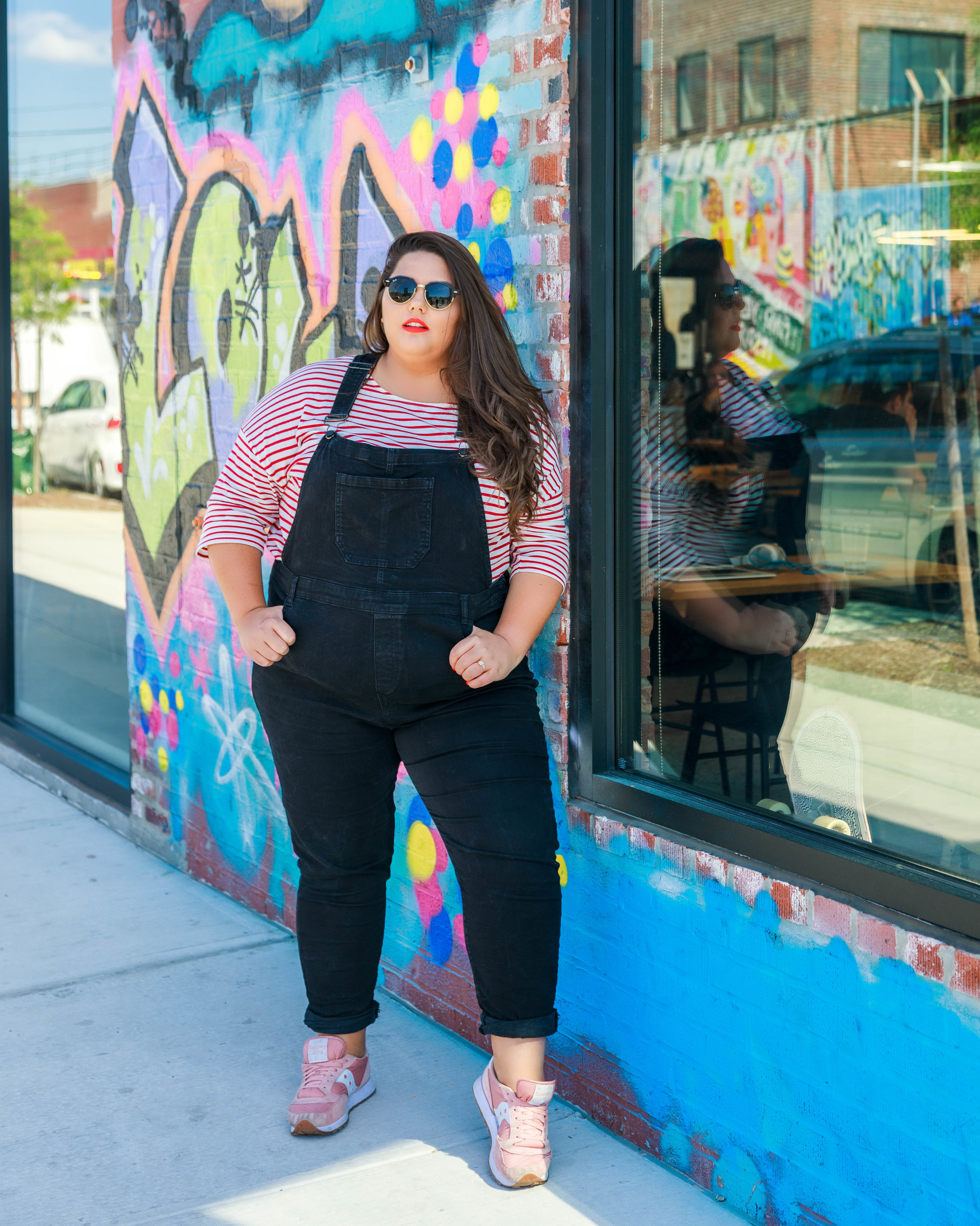 plus size dungarees with breton striped top