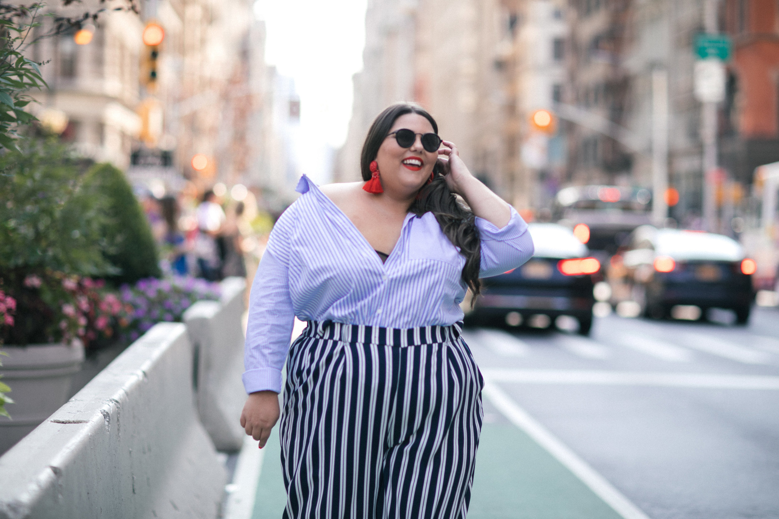 new look curve striped shirt and cullottes