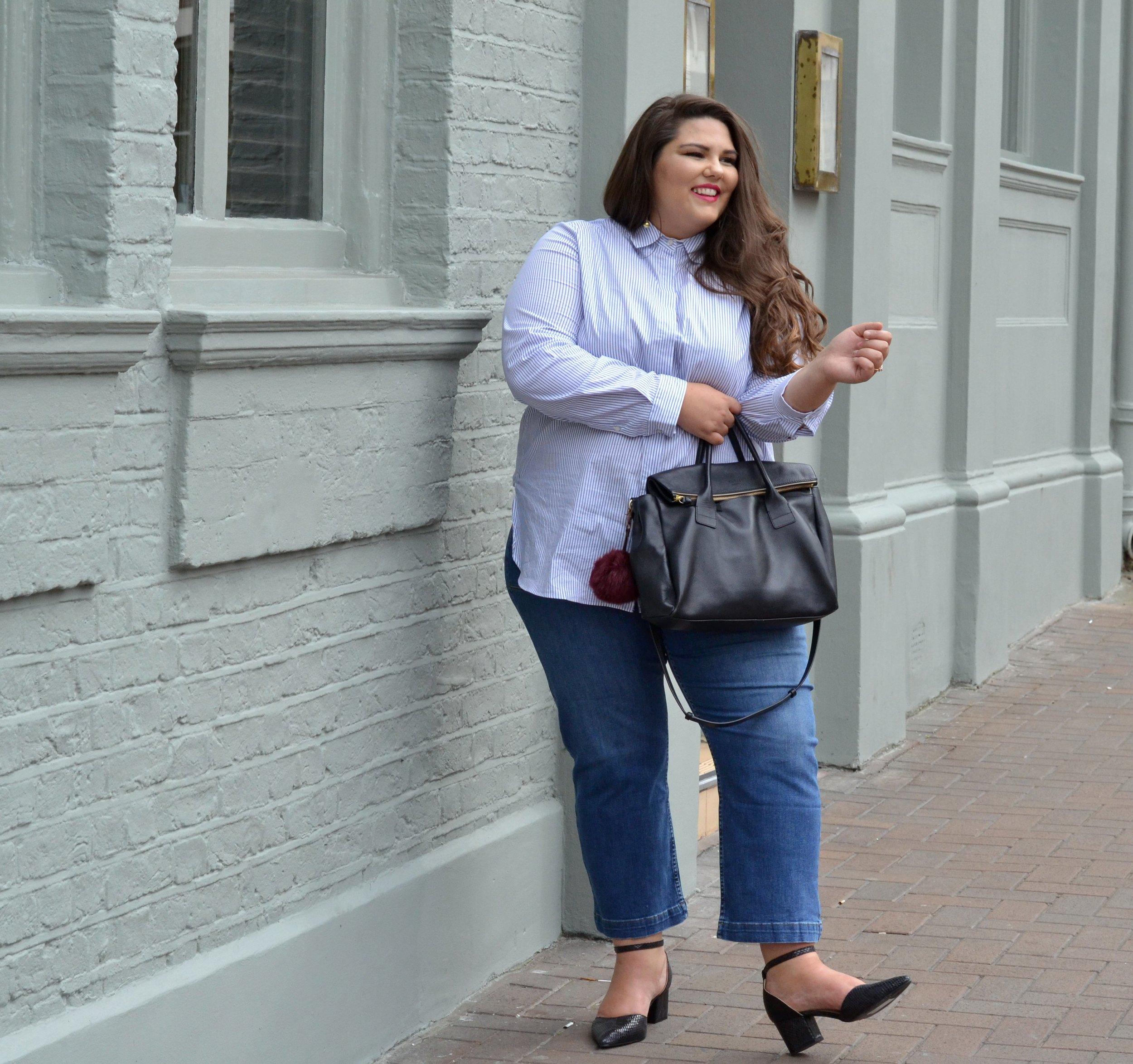 Marina Rinaldi Shirt, Mango Jeans .JPG