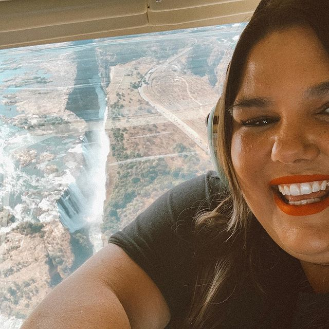 Last week I ticked off a bucket list experience to go on a helicopter ride 🚁 I had always wanted to do one but felt extremely nervous about the whole thing. Will I fit? Is there a weight limit?  Will I be weighed?  Ive has a lot of questions about this so I wanted to share my experience here publicly in the hopes that it might help anyone who also feels worried and nervous.  Firstly on this particular experience there was no specific weight limit, instead it was about balancing the weight of everyone in the helicopter. In order to get that balance correctly everyone has to be weighed. it's not something that is optional it's either weigh or don't fly. So I did it.  Was it a pleasant experience having to be weighed in a space full of people? Honestly no, but I was fine I didn't look at number because I knew it would be triggering instead I just hopped on and looked away. Not one of the helicopter staff made me feel any type of way about the number on the form which was good.  But can I say it all plain sailing? Sadly No.  I did have a pretty humiliating experience when it came to being paired for the ride. A man who was paired with Dan and I, made a fuss about not wanting to be on there with us demanding that he wanted to be on another flight with his daughter At that point I could feel the shame rise up to my chest but instead of taking it in, I remembered that this was Dan's birthday present and I had always wanted to do this, I was not about to let someone who didn't know me ruin this experience. So I sucked it up, did a minute head space breathing exercise and I got my fat butt on that helicopter (with the man and his daughter) who had no choice but to join us.  And that was that. I had the best time. I saw Victoria Falls (the largest falls in the world) from the clouds and I got to see Dan's happy face too. The point being of all of this is, life is not always easy, people are rude and make judgements. That behaviour is on them. but it's your choice to not let these things ruin your day or stop you from doing what it is you want to do. You deserve to choose to enjoy life and live it the way you see fit. My advice? - Choose joy ❤️