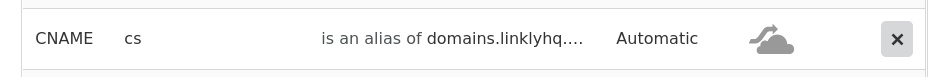This is the CNAME record you must create. Here is an example from our DNS provider, Cloudflare. Yours may look different. If you're having trouble, contact us and we can help.