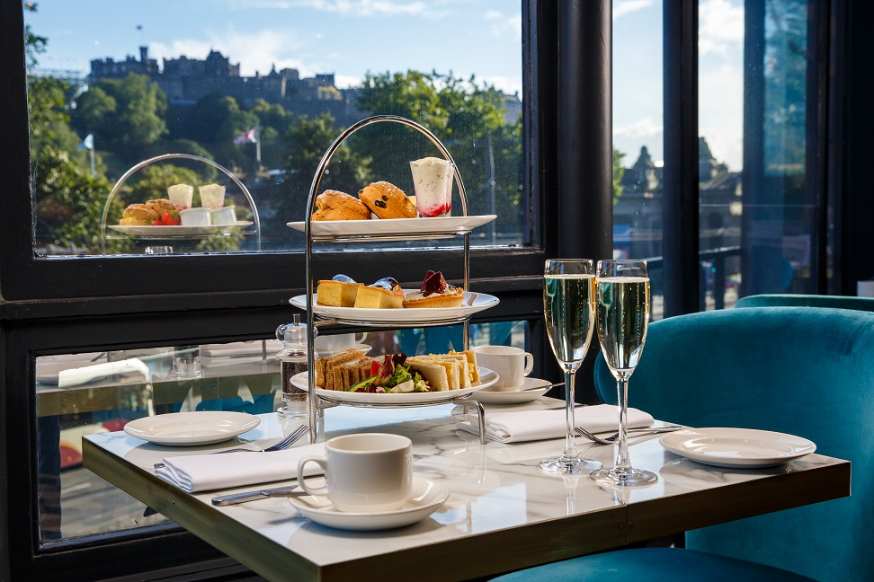 Mercure Hotel - With stunning views across the city, this is one place you'll want to sip champagne and tuck into dainty bites of yumminess.www.mercureedinburgh.co.uk