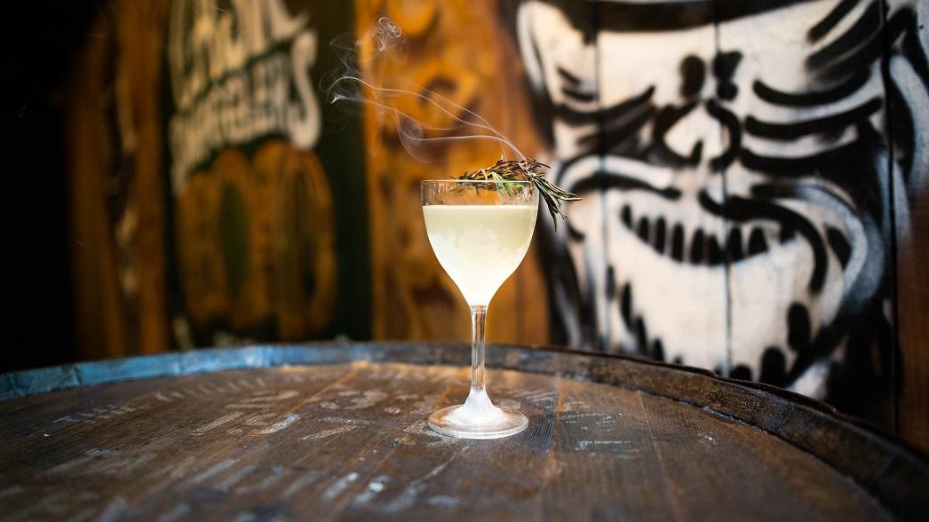 SKULL & ROSE : Cazabel Reposado Tequila, Rhubarb Liqueur, Elderflower Cordial, Lime Juice and Muddled Cucumber