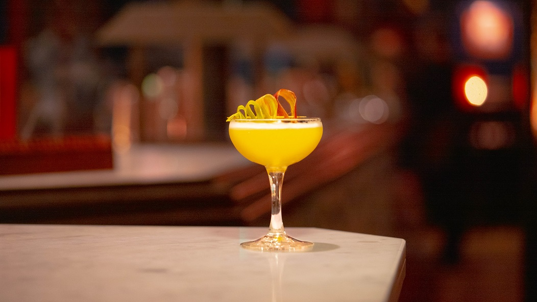 THE GEDDES FIX : Woodford Reserve Bourbon, Chartreuse, Cointreau, Rhubarb Bitters, Agave Syrup and Lime Juice